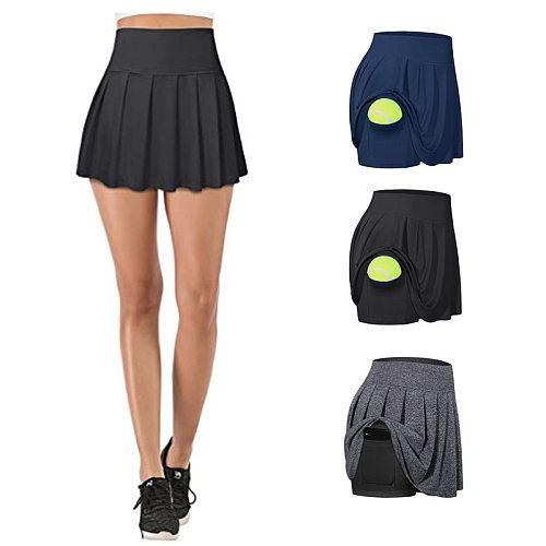 2020 Anti Exposure Tennis Skirts Fitness Running Skorts Women Quick Drying Sport Skirt Pocket High Waist Gym Yoga Skirt Gymwear