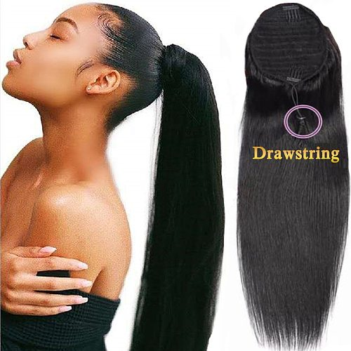 Straight Ponytail Human Hair Brazilian Ponytail Hair For Women Clip In Drawstring Black Blow Out Human Hair Extensions Remy Hair