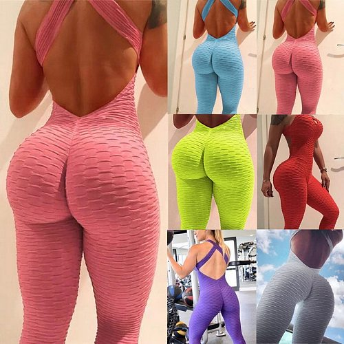 Women's Sports Set Backless Playsuit Fitness Tights Jumpsuits Costume Yoga Suit Gym Bodysuit Tracksuit Gym Sport Set Dropship