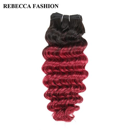 Rebecca Brazilian Deep Wave Remy Human Hair Weave Bundles 100g Ombre Colored For Salon Hair Extensions T1b/burgundy Red