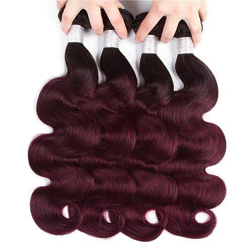 1B 99j Bundles Ombre Body Wave Hair Weave Bundles Brazilian Weave hair 3/4 Bundles 99j Human Hair Bundles Wholesale Hair Bundles