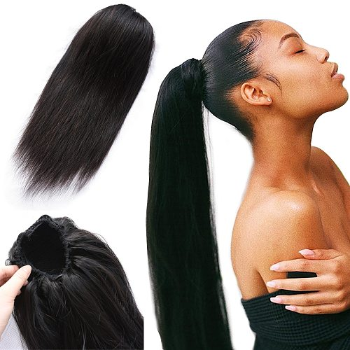 Ponytail Human Hair Extensions With Clip In Drawstring Ponytail Straight Brazilian Hair Ponytails For Women Remy 1 2  Piece