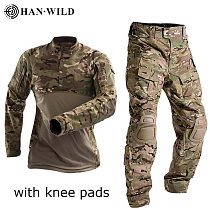 HAN WILD Military Uniform Tactical Combat Shirt US Army Clothing Tatico Tops Airsoft Multicam Camouflage Hunting Pants Knee Pads