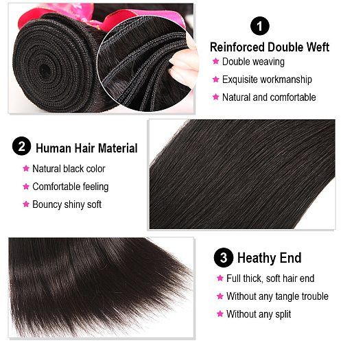 Ali Pearl Hair 4 Pcs Peruvian Straight Hair Bundles 100% Human Hair Weave Bundles 8 to 30 inch Remy Hair Extensions