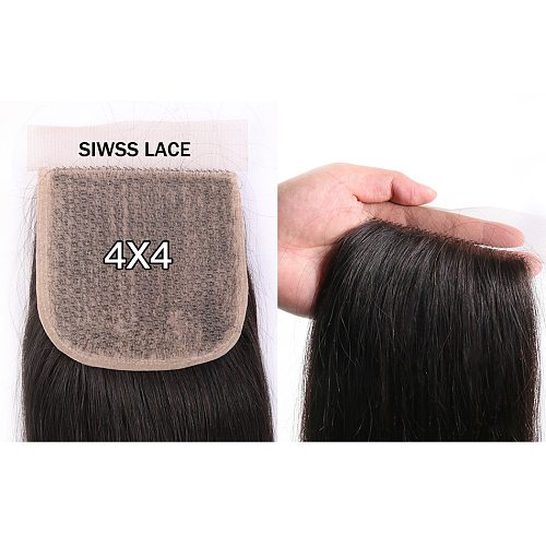 Mifil Brazilian Straight Lace Closure Only 4*4 Free Part Closure 100% Remy Human Hair PU Silk Base Closure Straight 10-22 inch