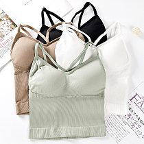 Women Sports Bra Tops Solid Padded Fitness Yoga Running Cropped Top Women SportsWear Gym Solid Tank Tops Athletic Push Up Bras