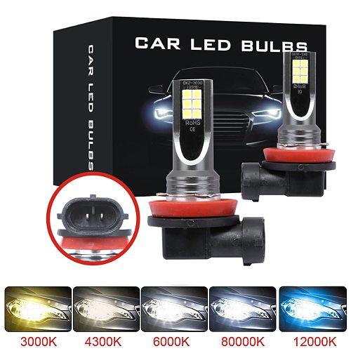 2Pcs H8 H11 Led HB4 9006 HB3 9005 Fog Lights Bulb 3030SMD 12000LM 6000K White Car Driving Running Lamp Auto Leds Light 12V 24V