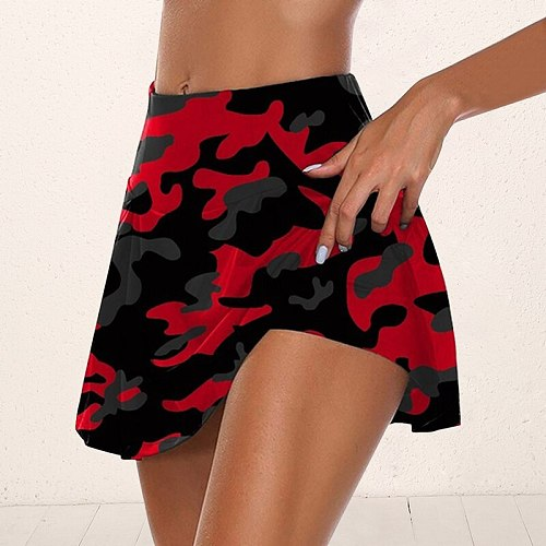 Women Sport Athletic Skirted Yoga Shorts Letter Print Pleated Tennis Golf Skirt Workout Anti-emptied 2 1 Biker Shorts