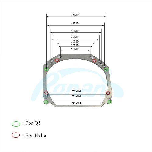 Ronan Universal retrofit adapter frame for Q5 Hella 2 3 5r LED lens install DIY car headlight