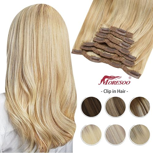 Moresoo Blonde Clip in Hair Extensions Human Hair Balayage Highlight Machine Remy Hair Natural Straight Seamless 100% Real
