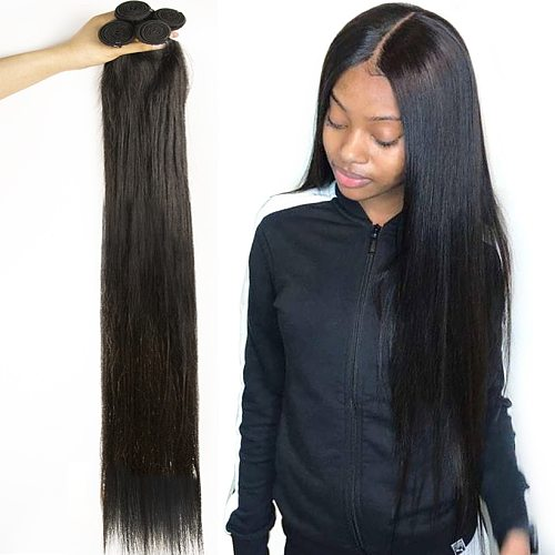 30 32 34 36 38 40 Inches Indian Hair Straight Bundles 100% Natural Human Hair 1 3 4 Bundles Double Wefts Thick Remy Hair Weave