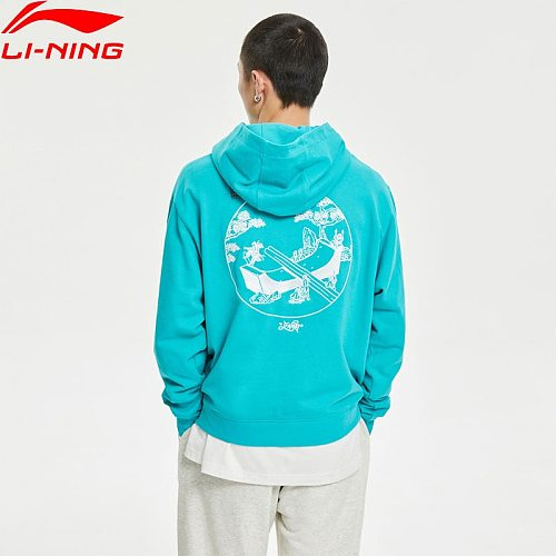 Li-Ning Men Skateboard Series PO Knit Hoodie Loose Fit 76.5%Cotton 23.5%Polyester LiNing Sports Graphic Stylish Pullover AWDR117