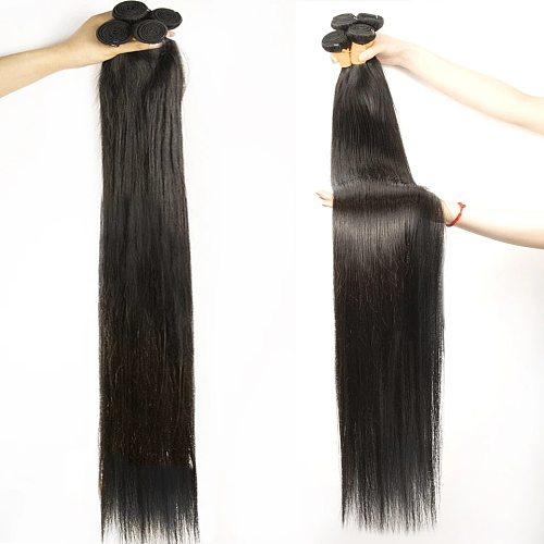 Straight Human Hair Bundles 100G/PC Brazilian Hair Weave Bundles 100% Human Hair Extension 24 26 28 30 32 34 36 Non Remy Ms Love