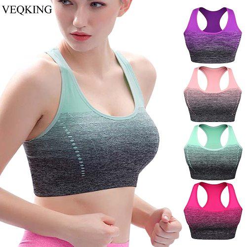VEQKING Gradient High Stretch Sports Bra for Women,Quick Dry Padded HBack Sports Top,Seamless Yoga Running Fitness Sport Bra Top
