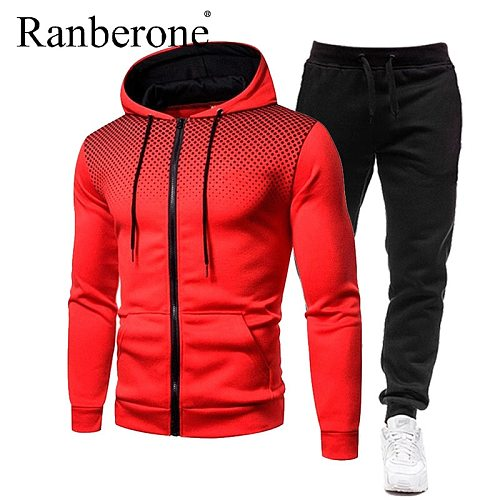 Ranberone Chinese Style Tracksuit Men Zipper Hoodie Men Clothing Pocket Trousers Men's Suit Trend Jacket Sportswear Gym Clothes