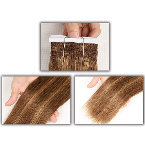 Sleek Pre-Colored P4/27 P4/30 P1B/30 P6/2 Human Hair Bundles Brazilian Straight Hair 1 Bundle Remy Hair Extension 113g