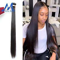 Missblue Straight Human Hair Bundles 30 38 40 Inch Brazilian Hair Weave Bundles Natural Hair Extensions 3 4 Bundles Thick Remy