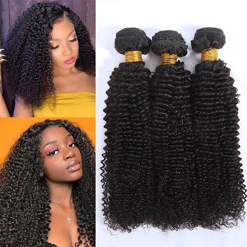 Kinky Curly Hair Bundles Brazilian Non-Remy Human Hair Extensions 1 3 4 Bundles Thick Kinky Curly Bundles