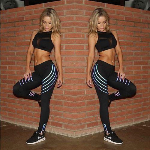 Noctilucent Yoga Leggings Quick Dry Yoga Pants Women Leggins Sport Women Fitness Night Glowing Tights Leggings Sport Fitness