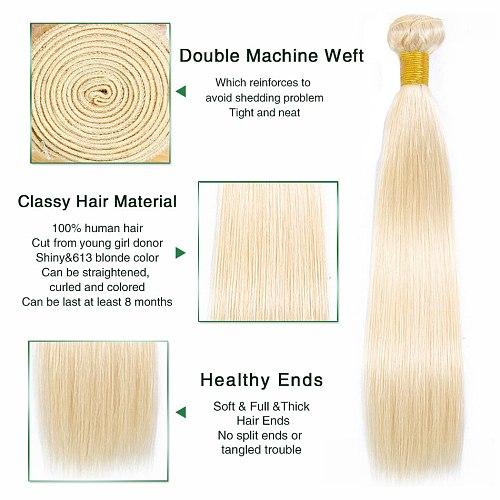 Liddy Straight Hair Bundles 613 Blonde Human Hair Extensions Brazilian Human Hair Weave Bundles Non-remy 1/3/4 Pieces