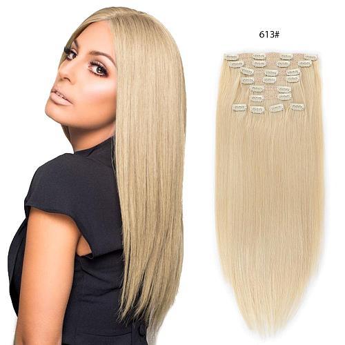 ALI-BEAUTY Peruvian Straight Hair 8Pcs/Set Clip In Human Hair Extensions 100% Human Hair Dark Brown Remy Hair Full Head