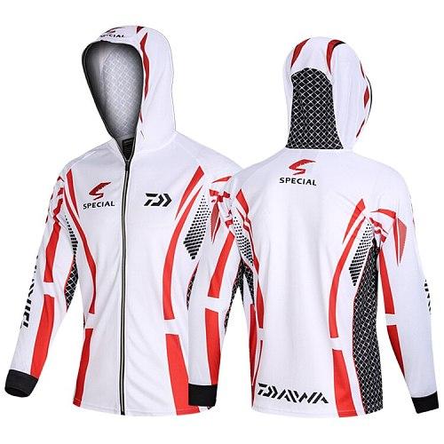 2020 Summer Fishing Clothing Hooded Men Jacket Waterproof Quick-drying Coat Zipper Fishing Shirt Hiking Cycling Fishing Clothes