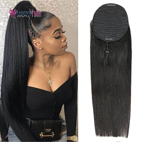 USEXY Straight Ponytail 100% Human Hair Drawstring Ponytail With Clips In Human Hair Extensions For Women Brazilian Remy Hair