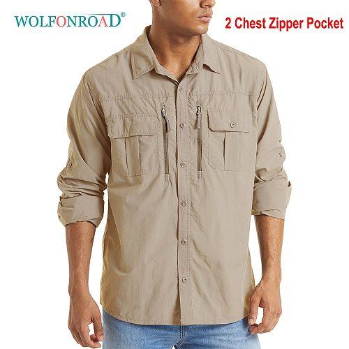 WOLFONROAD Men's Tactical Shirt Army Training Quick Drying Long Sleeve Sun/SKin Protection Hiking Walking Sports Tee Shirt Tops