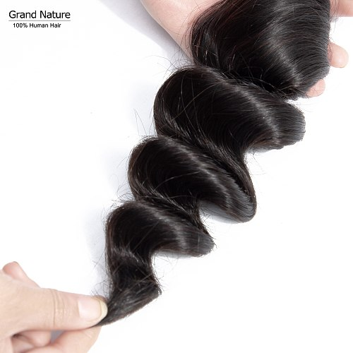 Grand Nature loose wave with Brazilian virgin human hair one bundle 100% bohemian Wave human hair weaves one donor Free Shipping