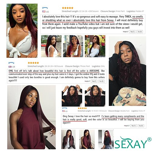 Sexay Ombre Burgundy Hair 28  3 Bundles With Closure Remy 10A 99J Red Boldeaux Brazilian Straight Human Hair Weaves With Closure