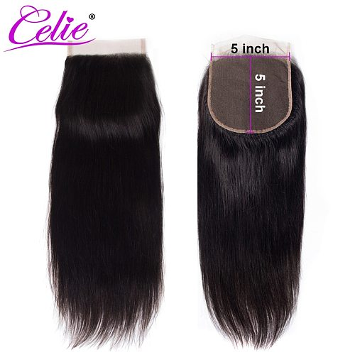 Celie Brazilian Straight 5x5 Lace Closure Free/Middle Part 150% Natural Black Color Remy 5X5 HD Straight Human Hair Closure