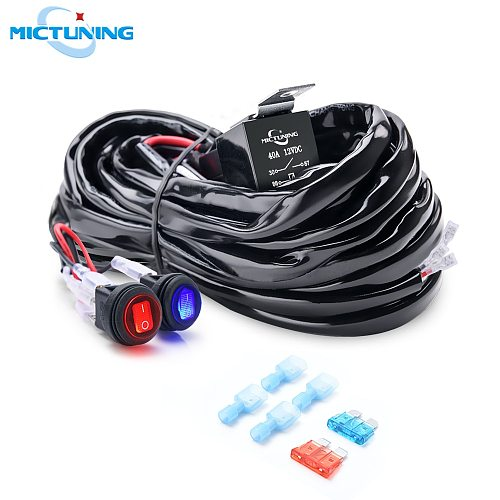 MICTUNING Car Cable Wire Wiring Harness Kit with 40A Dual Switch Relay Blade Fuse for 180W Auto LED Light Bar Driving Work Lamps