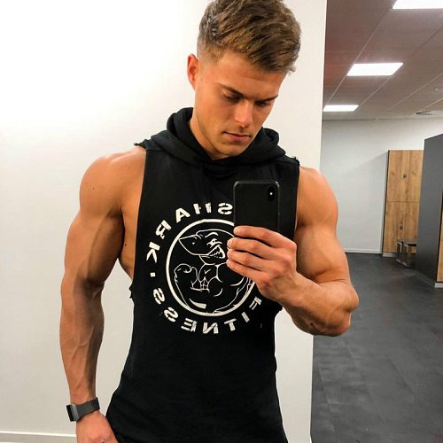 Summer Hooded Fitness Running Vest Sleeveless T-shirt Sports Wear for Men Gym Top Bodybuilding Workout Sports Shirt Clothing