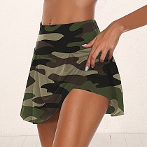 1Day Ship Women Camo Athletic Tennis Sport Skirts With Shorts High Waist Pleated Short Dress Workout Running Dance Safety Short