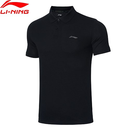 Li-Ning Men Training Polo Shirt 100% Cotton Slim Fit Casual Comfort T-shirt LiNing Fitness Breathable Sports Tee APLR005