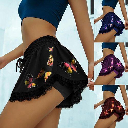 Women's Sport Tennis Skorts Butterfly Print Outdoor yoga Inner Short Skirt High Elastic Waist Golf Mini Hakama For Female Summer