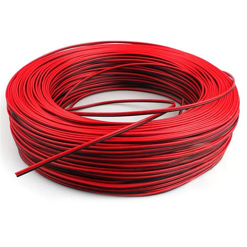 1pc High Quality 10m 22AWG Black with Red led wire Cable