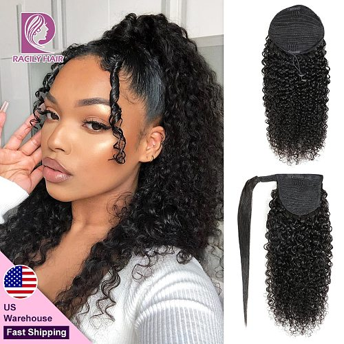 Racily Hair Afro Kinky Curly Ponytail Human Hair Remy Brazilian Wrap Around Drawstring Ombre Ponytail Clip In Hair Extensions