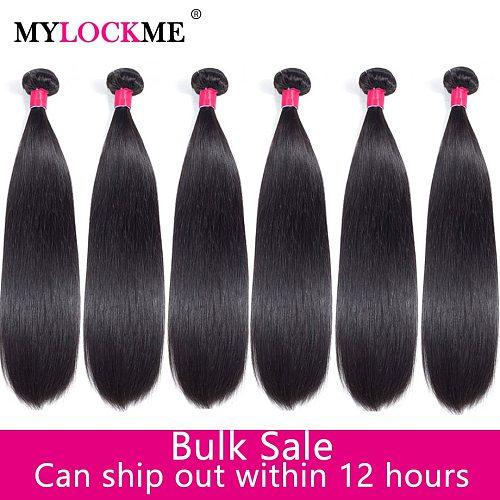 MYLOCKME Wholesale 100% Human Hair Bundles Natural Color Straight Hair Bundles Bulk Sale Brazilian Hair Extensions Remy Hair