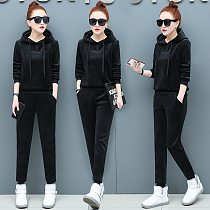 Gold Velvet Thickening Plus Velvet Sports Suit Women Suit Tracksuit Winter New Casual Hooded Sweater Running Clothes Two-piece