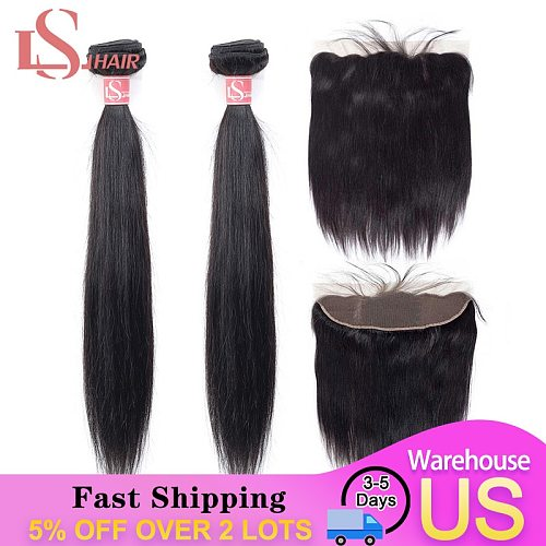 LS HAIR Straight Hair Bundles With Frontal Remy Human Hair Bundles With Closure Brazilian Hair Weave 2 Bundles With frontal