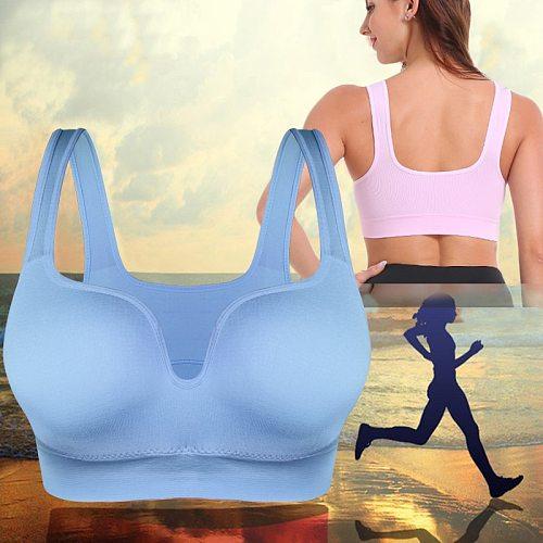 SEXYWG Women Sport Bras Yoga Shirt Fitness Running Vest Underwear Padded Bra Crop Sports Workout Top Wireless Push Up Brassiere