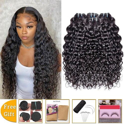 water wave bundles human hair bundle deals non-remy hair extensions wet and wavy bundles Peruvian Brazilian hair weave bundles