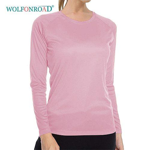 WOLFONROAD Quick Dry Women's UPF 50+ Long Sleeve T-Shirts Skin Sun Protection Outdoor Hiking T-Shirts Sun Block Shirts Tops Girl