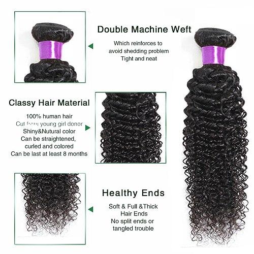 Liddy Curly Hair Bundles Brazilian Hair Weave Bundles 100% Human Hair Bundles Natural Color Non-remy Hair Weave 1/3/4 Piece
