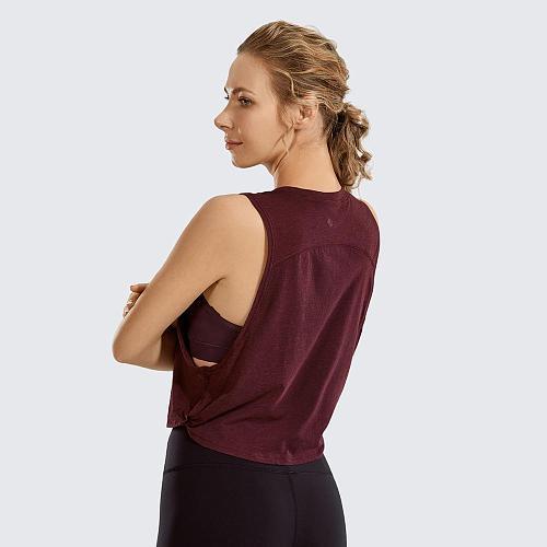 SYROKAN Cotton Sports Shirt Women's Pima Workout Tank Crop Sleeveless Yoga Tops Running Gym Clothings