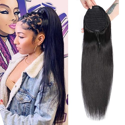 Sapphire Straight Ponytail 100% Human Hair Drawstring Ponytail With Clips in For Women Brazilian Remy Human Hair Extension 1PCS