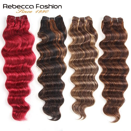 Rebecca 113g Remy Human Hair Deep Body Wave Brazilian Hair Ombre Black Brown Red Colors Hair Extensions 1 Bundle