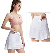 S-XXXL Women Tennis Skirts Badminton Golf Pleated Skirt High Waist Fitness Shorts with Phone Pocket Girl Athletic Sport Skorts