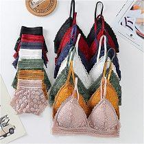Women Lace Bra Sets Seamless Underwear Backless Vest Sexy Panties Padded Ultrathin Bralette Female Lingerie Briefs Sports Bra